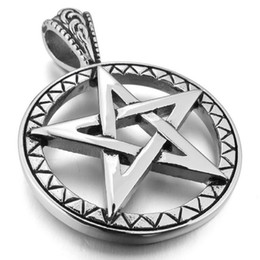 Wholesale Silver Biker Necklace - Men's Stainless Steel Pendant Necklace Silver Pentagram Pentacle Star Biker -with 23 inch Chain