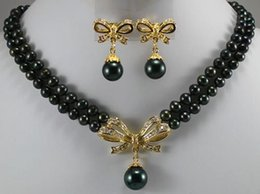 """Wholesale Mixed 18k Gp Necklace - 18k Yellow Gold GP 6-7mm Black Pearl&Shell Pearl Necklace Earring 17""""-18""""ASA"""