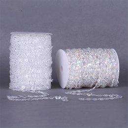 Wholesale Christmas Photo Booth - 99FT Garland Diamond Strand Clear Acrylic Crystal 10mm Beads Chain DIY Wedding Curtain Party Decorations supplies