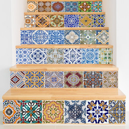 Wholesale Decor Wall Tiles Wholesaler - 6 Pieces Set Creative DIY 3D Stairway Stickers Ceramic Tile Pattern for Room Stairs Decoration Home Decor Floor Wall Sticker