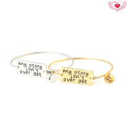 Wholesale Wholesale Story - 2017 New Handstamped Bangle Bracelets My Story isn't Over Yet Bracelet Gift for Divorcee Semicolon Bracelet Survivor Woman Men Jewelry