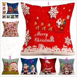 Wholesale Cotton Cushion Cover Wholesale - Christmas Linen Pillow case Santa Claus pillow case Snowman single cushion cover 43cm*43cm 8style can choose Home Sofa case