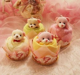 Wholesale Christmas Cake Towel Gift - Lovely teddy bear Cake Towel 30*30cm mini towel Wedding Christmas Valentines birthday gifts Baby shower favors gift souvenirs