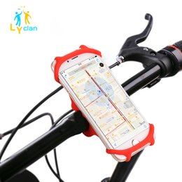 Wholesale Mobile Phone Motorcycle Stand Holder - Universal Bike Bicycle Motorcycle Handlebar Mobile Phone Stand GPS Navigation Holder Bike Silicone Bracket Holders For Iphone S6 7 Samsung 8