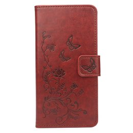 Wholesale Orange Process - Folio Wallet PU Leather Protective Flip Stand Cards Slots Case with Butterfly Flower Embossing Process for LG X Power