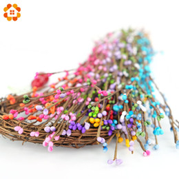 Wholesale Blue Headband Garland - Wholesale-20Pcs Artificial Vine Hair Headband Garland 40cm artificial Beads Branches flower stamen for home wedding party car decoration