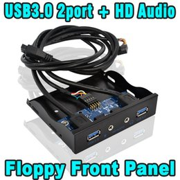 "Wholesale Front Panel Audio Floppy - Wholesale- 20 Pin 3.5"" Internal Floppy Bay Front Panel Bracket Cable 3.5 Inch 20Pin 4 Port USB 3.0 Hub Mic HD Audio Interface Adapter"