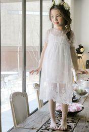 Wholesale Childrens White Chiffon Dress - 2017 Summer Fashion big Girls Dresses lace Princess Dresses Childrens Dress Suits braces skirt Beach Long Dresses 2pcs sets Kids Clothing