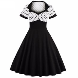 Wholesale Big Polka Dot Women Dress - Women Summer Polka Dot Vintage Dress Fashion Party And Sweetheart Square Neck Defined Waist Big Swing Dress Tunic Dress Vestidos DK3032MX