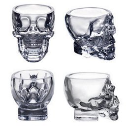 Wholesale crystal head vodka skull - Crystal Skull Head Vodka Wine Shot Glass Drinking Cup 80ML Skeleton Pirate Vaccum Beer Glass Mug OOA2318