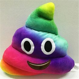 Wholesale Mini Toy Crowns - Cute emoji plush toys pillow 35cm 14 inches cushion cartoon giant shits poop stuffed animals pillows dolls crown pink rainbow color
