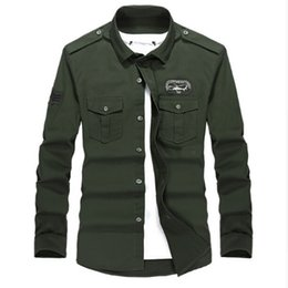 Wholesale Army Khaki Uniform - Plus size M-4XL high quality Summer men's military uniform style men casual long sleeved shirt leisure long sleeved shirt