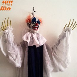 clown dekorationen requisiten Rabatt Hängende Latex Teufel Clown Hanging Zombie-Halloween-Dekorationen Halloween Props Geisterhaus-Halloween-Party Supplies Yard