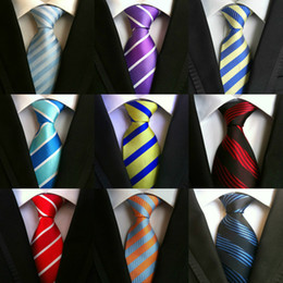 Wholesale Men Stripe Neck Ties - 200 Styles Men Ties Polyester Fashion Neckties Handmade Wedding Neck Ties Business Tie Paisley Stripes Plaids Dots Solid Color Ties B07