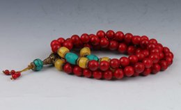 Wholesale Chinese Coral Beads - Chinese Collectibles Handwork Old Red Coral & Beeswax Toyed Prayer Bead Necklace