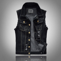 Wholesale Mens Waistcoats Casual - Mens Distressed Denim Waistcoat Blue Sleeveless Jeans Denim Jacket Casual Vests For Men Gilet Biker Homme