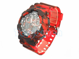 Wholesale Displays For Watches - New colors CAMO 100 dual display relogio men's sports watches, LED chronograph wristwatch, military watch good gift for men & boy no box