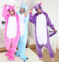 Wholesale Animal Pajamas For Adults - pink blue purple 5 different colours of unicorn unisex fannel animal onesie pajamas costume suit for adult
