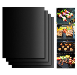 Wholesale Bbq Grill Sets - Wholesale 40x33cm Teflon BBQ grill mat set Portable Easy Clean Nonstick Bakeware Cooking Tool Reusable BBQ mat