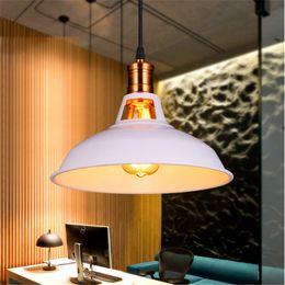Wholesale art villages - Industrial retro LED pendant lighting iron Art Pendant lamp Dia27cm 39cm with Edison bulbs American village Hanging Lamp