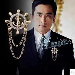 Wholesale Korean Clip Brooches - 2016 Promotion Rushed Pin Brooches For The Korean Version Of Rudder Brooch. Navy Chain Anchor Collar Clip Suit Accessories