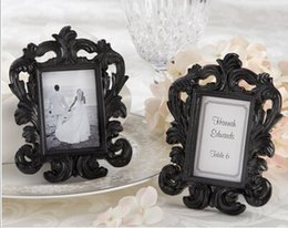 Wholesale Baroque Wedding Favor - Promotion Wedding favor 100pcs lot Baroque photo frame place card holder in white box Free shipping