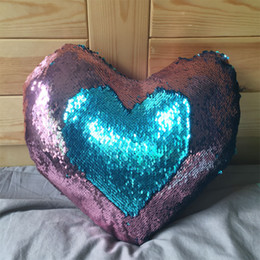 Wholesale Wholesale Heart Pillows - heart-shaped 9 kinds Double Color Sequins Throw Pillow Case Chameleon sofa cushion Cafe Home Decor Levert Dropship