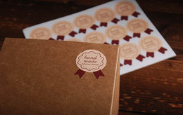 Wholesale Hand Made Wedding Card - Lovely Bear Hand Made lable Sticker Kraft paper sticker DIY baking products sealing sticker for Cards Jewelry Box Gift Bake Package 100pcs