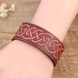 Wholesale Boho Vintage Bracelet - Vintage Classic Knot Leather Bracelets Boho Leather Bracelets with Hidden Alloy safety Clasp Leather Bracelet Fashion Jewelry