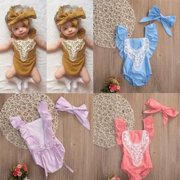 Wholesale Hot Girls Cotton Jumpsuits - 2017 Summer New Hot Sale Baby Girls Rompers + Headband Set One Piece short Sleeve Jumpsuits Newborn Infant Clothing