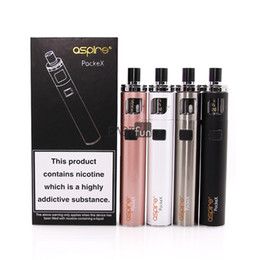 Wholesale Pocket Install - 100% Original Aspire PockeX Kit Pocket AIO Starter Kit 2ml Tank Capacity 1500mah Battery with 0.6ohm U-tech Coil Pre-installed Pyrex Tube