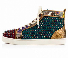 Wholesale Gold Round Spikes - MBSn998Za Size 35-47 Men Women Black Green Wine Red Suede Gold Snake Leather With Colorful Spikes High Top Fashion Sneakers,New Casual Shoes