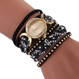 Wholesale Ellipse Stainless Steel - ellipse dial diamond fashion women leather 2017 new bracelet watches wholesale ladies weave stone dress quartz party watches