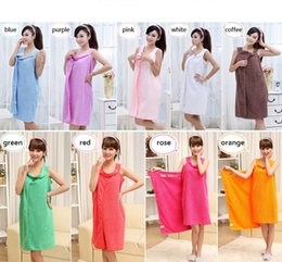 Wholesale Ladies Bath - Magic Bath Towels Lady Girls SPA Shower Towel Body Wrap Bath Robe Bathrobe Wearable Magic Towel 9 colors wa4238