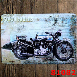 Wholesale Metal Wall Crafts - Motorcycle Vintage Craft Tin Sign Retro Metal Painting Antique Iron Poster Bar Pub Signs Wall Art Sticker Motorcycle Notebook Waterproof St