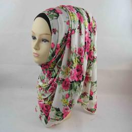 Livraison Gratuite en Gros-Hijab Musulman Floral Mode Jersey Coton Bandeau Design floral Femmes foulards envelopper Hijab Islamique ? partir de fabricateur