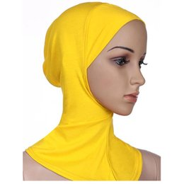 Wholesale Cover Chest - Wholesale-1pc 24cm*35cm Modal Adjustable Under Scarf Hat Cap Bone Bonnet Hijab Islamic Head Wear Neck Chest Cover Stretch Elastic