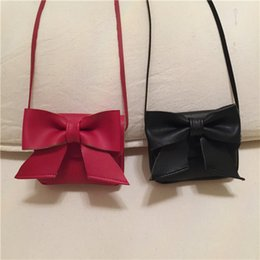 Wholesale Bow Cross Body Bag - Everweekend Girls Pu Leather Bow Hangbags Mini Purse Cross-Body Bags Candy Color Cross Bags Sweet Children Fashion Accessories