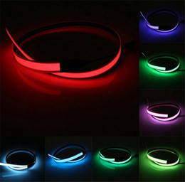 2019 led por metro 8 Colores LED Tiras de Colores Flexible Cinta Electroluminiscente EL Tape EL Wire AA Battery Power 60cm x14mm