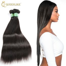 Wholesale Brazilian Knot Hair Extension - Brazilain Virgin Hair Extension Silky Straight 1B Natural Color Knots Free Unprocessed Remy Human Hair 1 Bundles Weaves Vendors Queenlike 7A