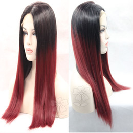 Wholesale Yaki Synthetic Lace Wig - Top Beauty Best Sale Top Quality Heat Resistant Two Tone Black To Red Wine Ombre Yaki Straight Glueless Synthetic Lace Front Wig