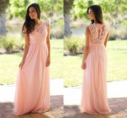 Wholesale Sweetheart Neckline Cheap Bridesmaid Dresses - Sweetheart Neckline Lace Padded 2017 Light Sky Pink Bridesmaid Dress Cheap Crochet Maxi Dress with Tulle Back Chiffon Pleated Flowy Skirt