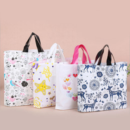 Wholesale Clothes Shopping Cartoon - 30*38*8 Colorful Cartoon Plastic Shopping Bags with Handle Pink Boutique Clothes Gift Packaging Bag Customizable