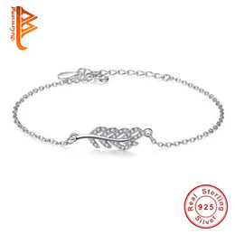 Wholesale Vintage Items - BELAWANG 925 Sterling Silver Items Jewelry Leaf Shaped Charm Bracelets Bangle with Clear Cubic Zirconia Wedding Vintage New Arrival Bracelet