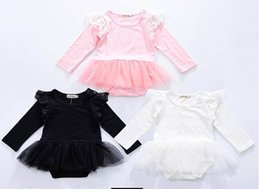 Wholesale Girls Bodysuits - 2017 New Baby Girls Bodysuits cotton Lace gauze Long Sleeve Princess Jumpsuits Overalls Clothing D0056