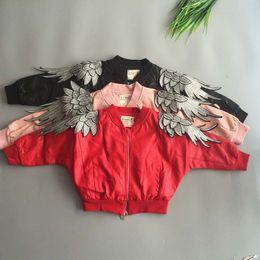 Wholesale Leather Jacket European - Fashion Wholesale Kids Jackets Pu Leather Boys Girls jacket angel's wings Children Outwear Winter Coats Kids Coat Leather Jackets 2-15Y A757