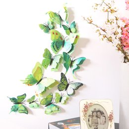 Wholesale light wall sticker switch decoration - 12pcs lot 3D Double-Layer Butterfly Wall Stickers Home DIY Decor Wall Decals For Living Room Bedroom Kitchen Toilet Kids Room Decorations