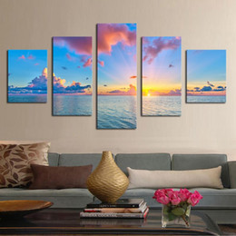 Wholesale Ocean Artwork - Unframed 5 Panels Sunset and ocean Scenery Canvas Print Painting Modern Canvas Wall Art for Wall Pcture Home Decor Artwork