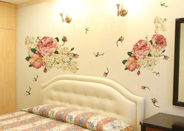 Wholesale Luxury Wall Decals - Luxury Peony Flowers Wall Stickers Art Home Decor PVC Removable Vinyl Wall Decals for kids Living Room Decorations