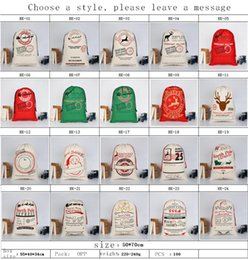 Wholesale Organic Cotton For Bag - 2017 Christmas Gift Bags Large Organic Heavy Canvas Bag Santa Sack Drawstring Bag With Reindeers Santa Claus Sack Bags for kids